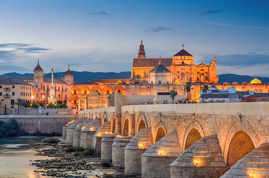 Córdoba and the Roman Bridge at Sunset