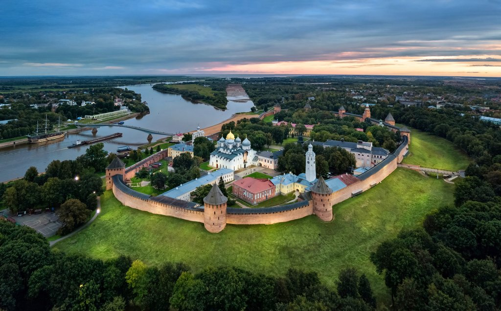 Aerial view of the Velikiy Novgorod kremlin