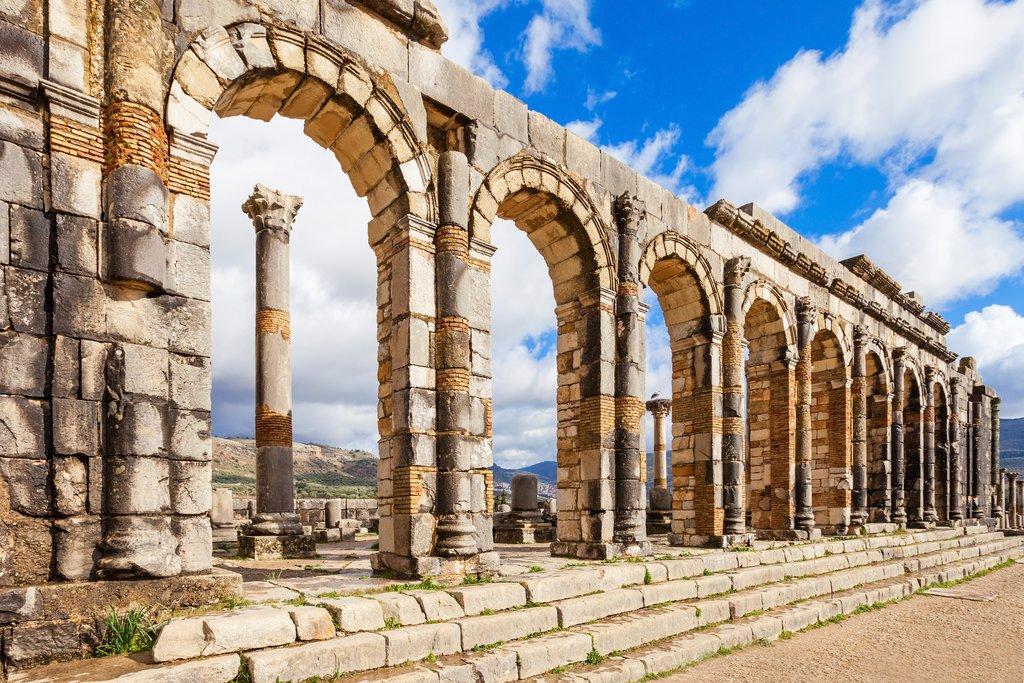 Explore the Roman ruins still standing in Volubilis