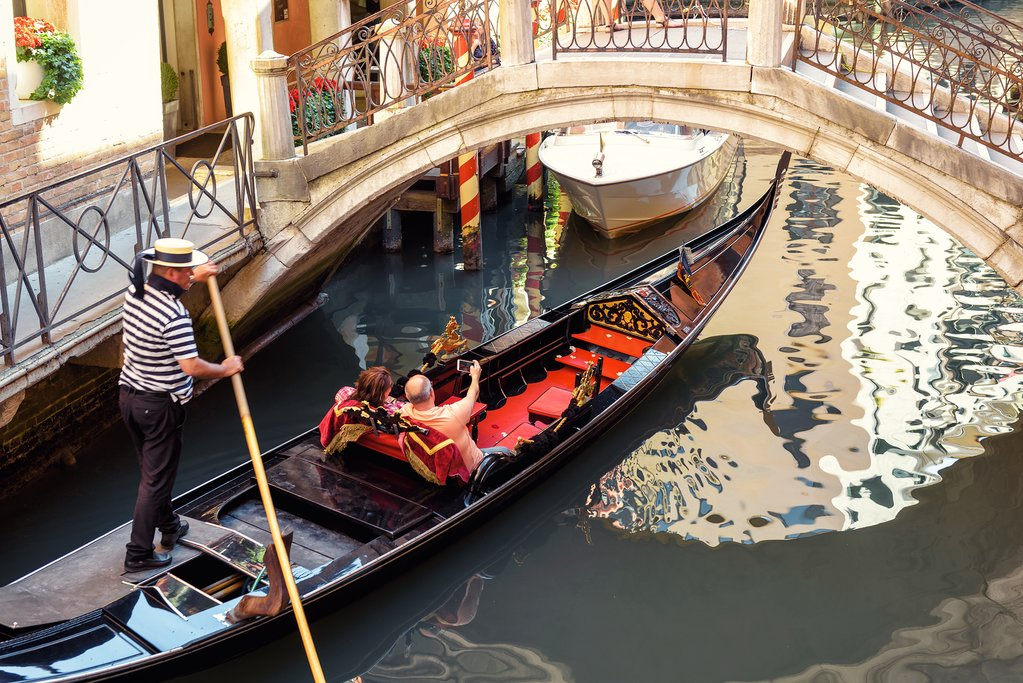 A gondola ride on the canals of Venice