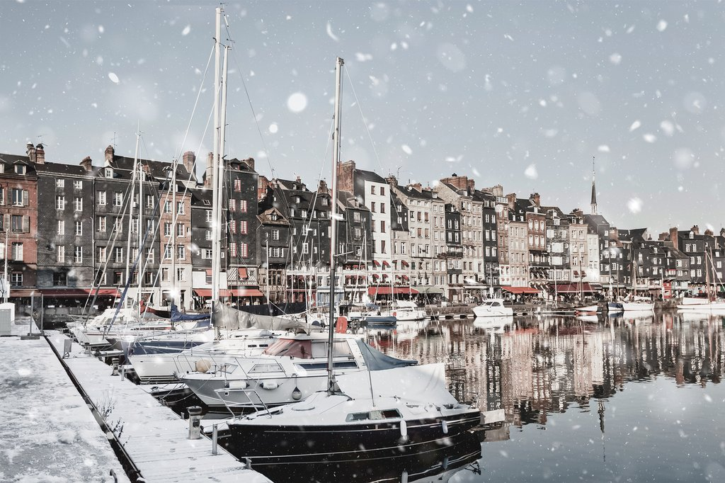 A wintry scene at the Honfleur harbor quay in Normandy