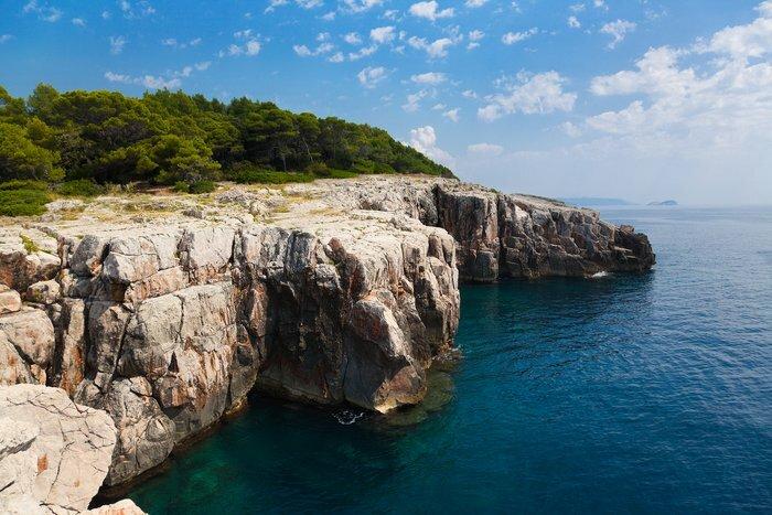 Dramatic sea cliffs on Lopud