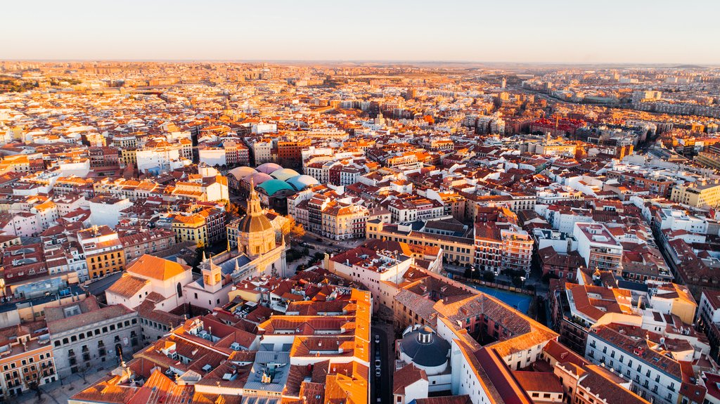 Aerial View of Madrid at Sunset