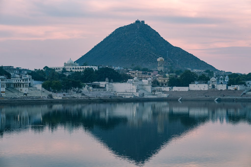 Pushkar and one of its hills at sunset