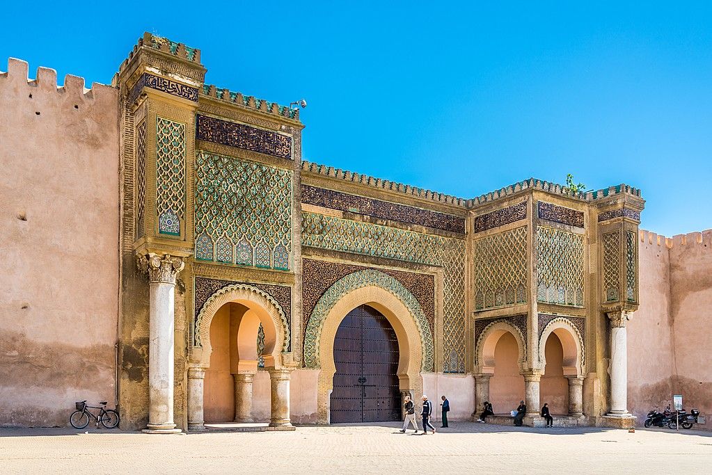 Gate Bab El-Mansour at the El Hedim square in Meknes, Morocco