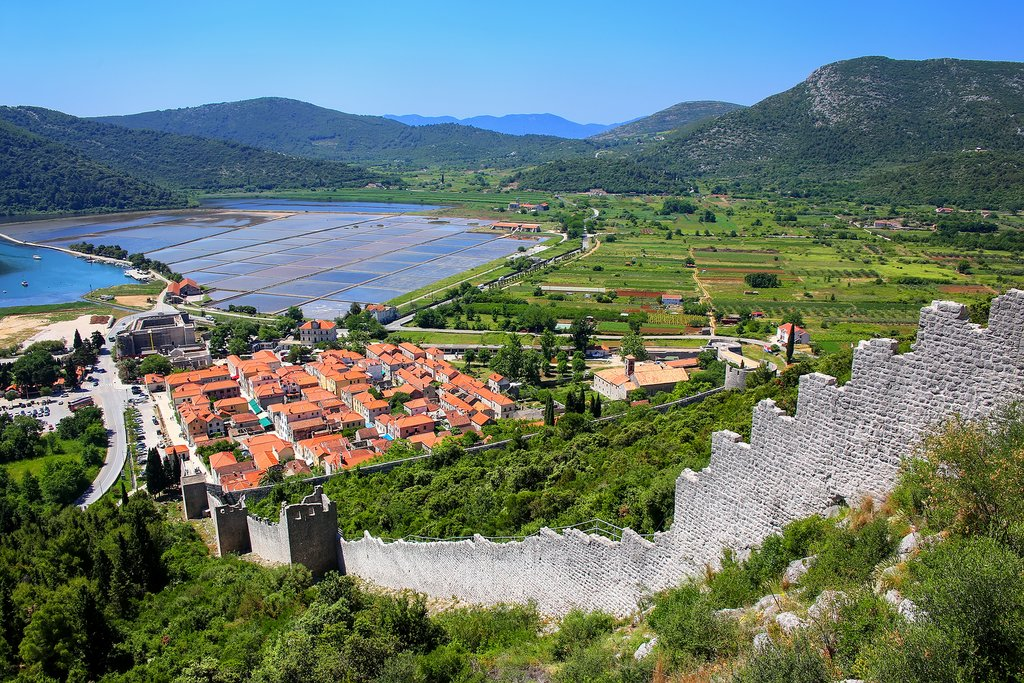 View of Ston, its defense wall, and saltpans