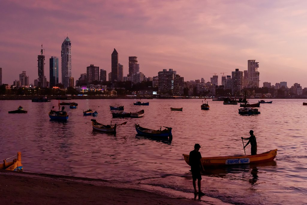 Haji Ali Bay and the Mumbai Skyline