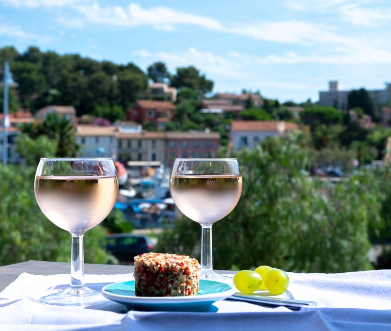 Sample locally produced rosé wine in Provence