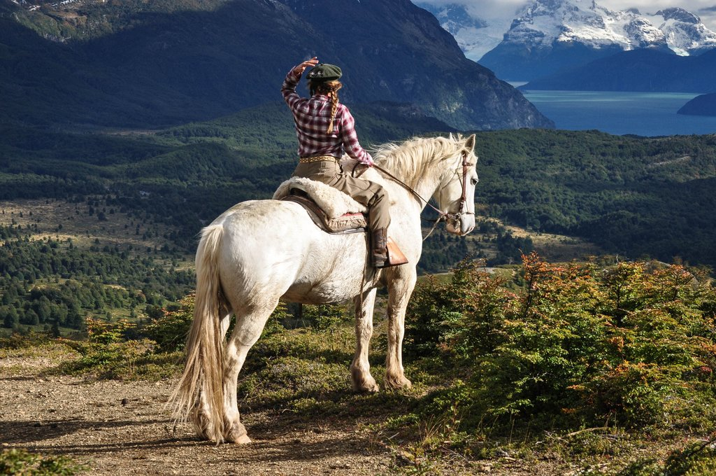 Horseback riding with a view