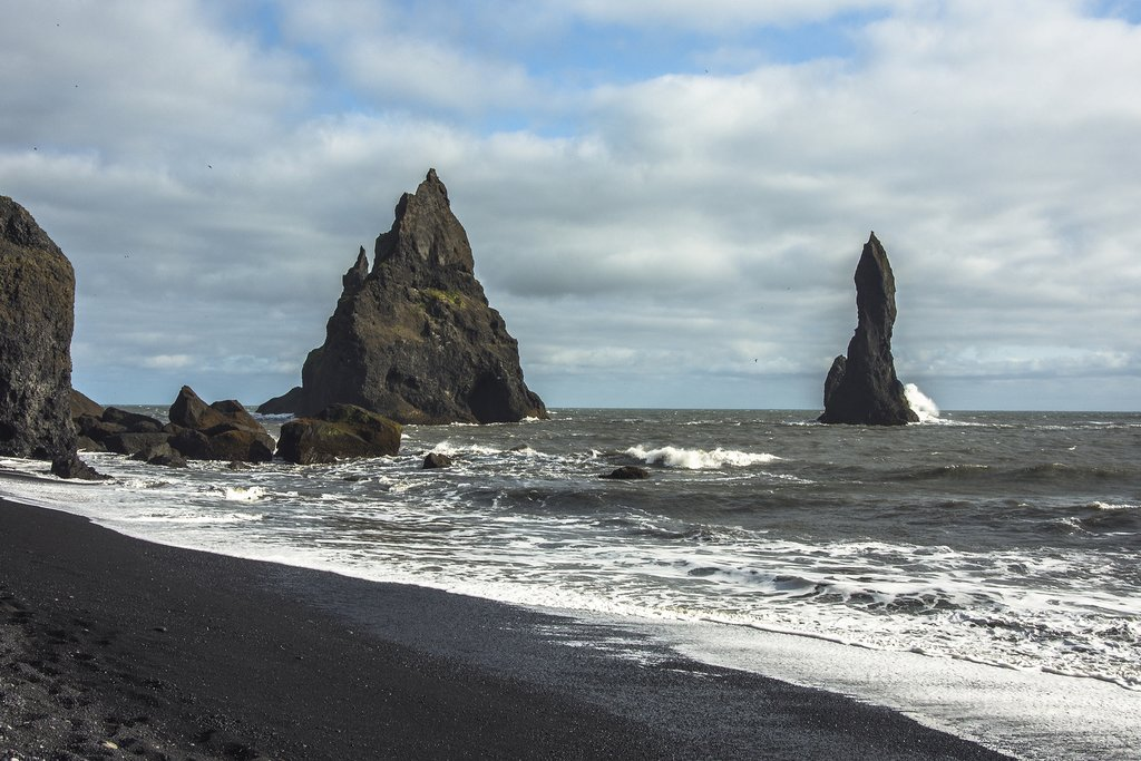 Look for black sand beaches on the drive back to Reykjavik