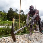 Sculpture of a worker outside the salt mine