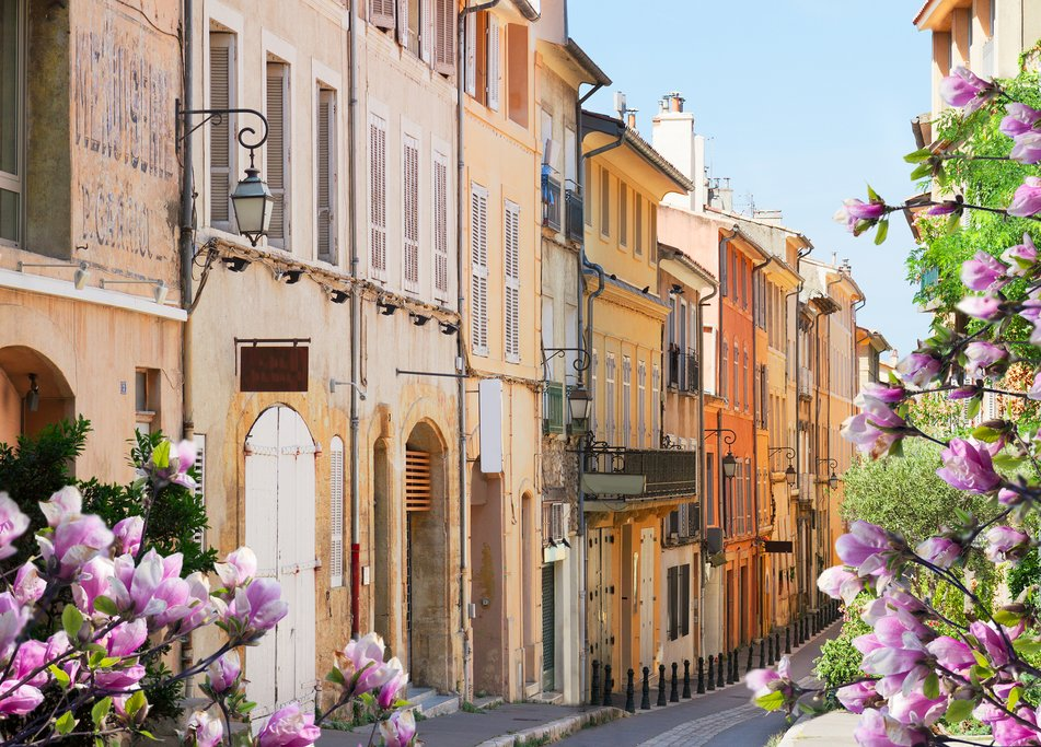 France - Provence - Old street in Aix-en-Provence in the spring