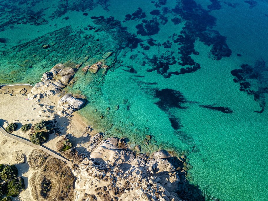 Beautiful blue waters in Naxos