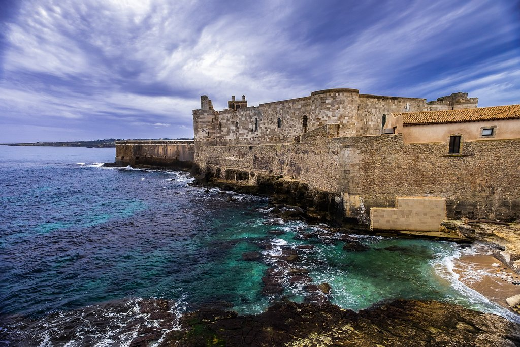 Italy - Sicily - Syracuse - Castello Maniace at the tip of Syracuse's Ortygia Island