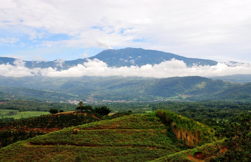 A fertile valley lies below Turrialba Volcano