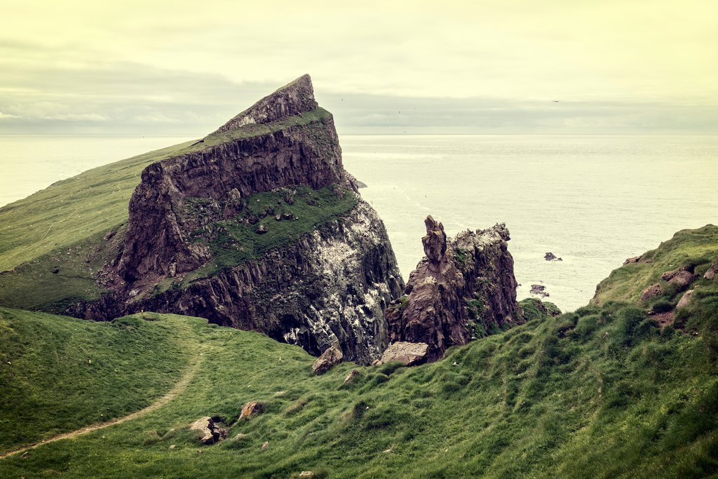Steep hiking in the Faroe Islands
