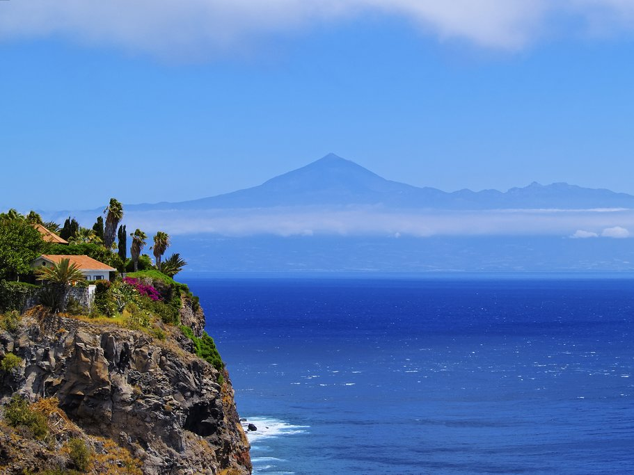 The coast of La Gomera, with Mount Teide visible in the distance.