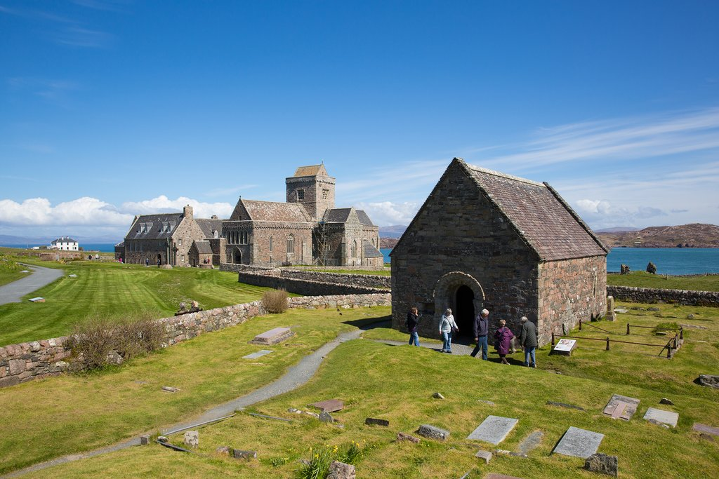 Clear skies and brilliant sunshine over Iona Abbey.
