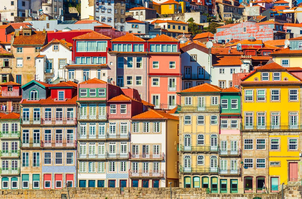 A row of Porto's colorful traditional houses