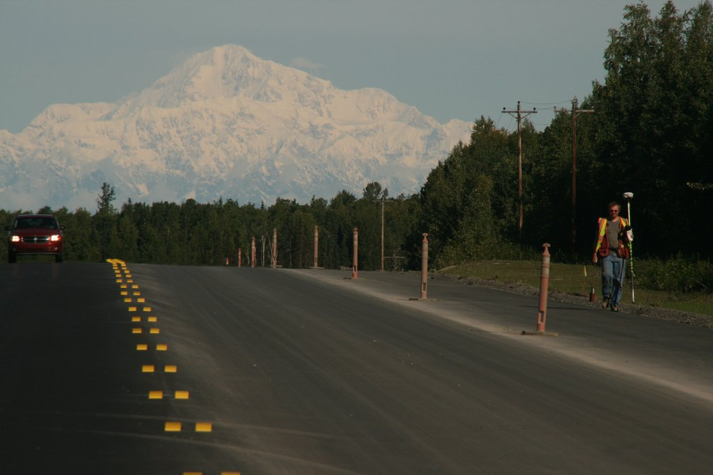 Parks Highway with Denali in the background, Alaska
