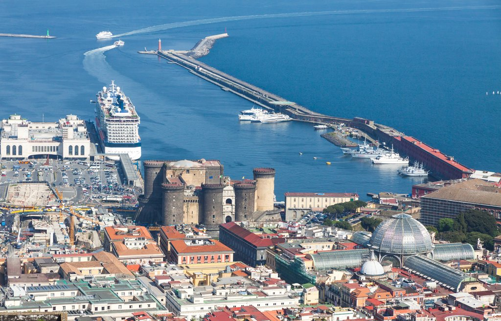 Aerial view of Castel Nuovo and Galleria Umberto