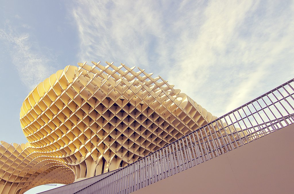 The modern lines of Seville's Metropol Parasol.