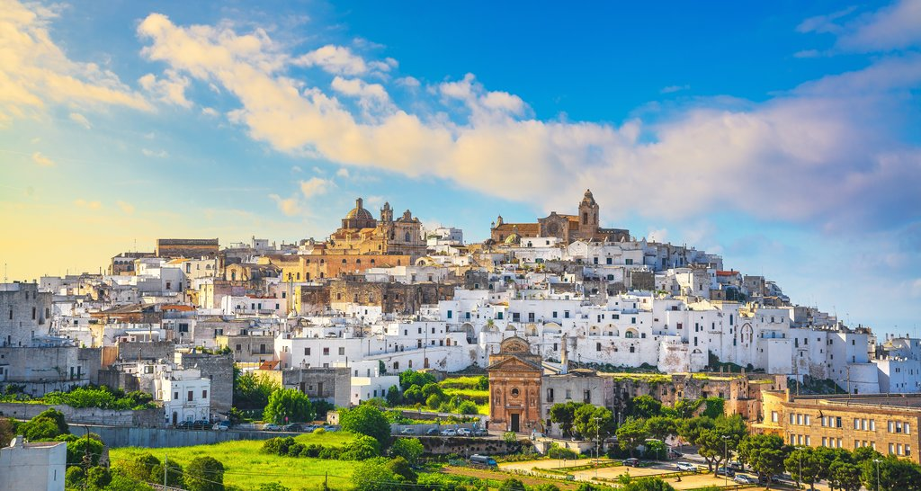 Ostuni skyline at sunset, Brindisi, Puglia