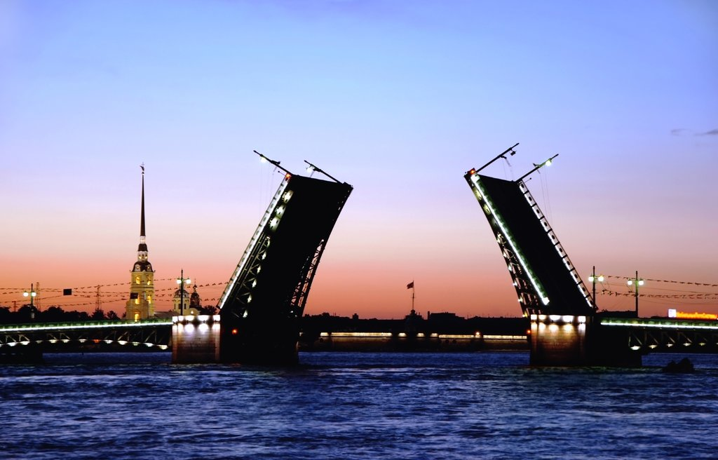 One of the several bridges which separate each night to allow ship traffic to pass