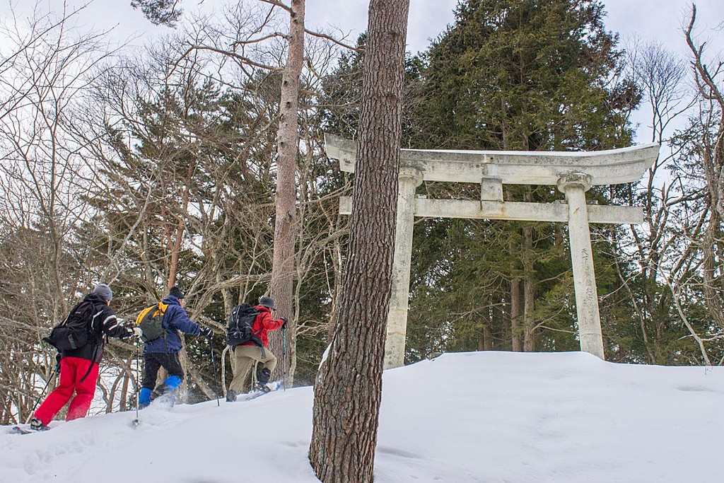 Traditional gates at the top of the Torii Pass.