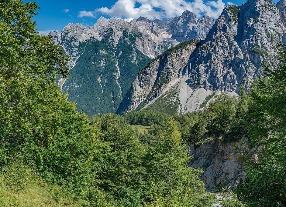Summer scenery along Vršič Pass