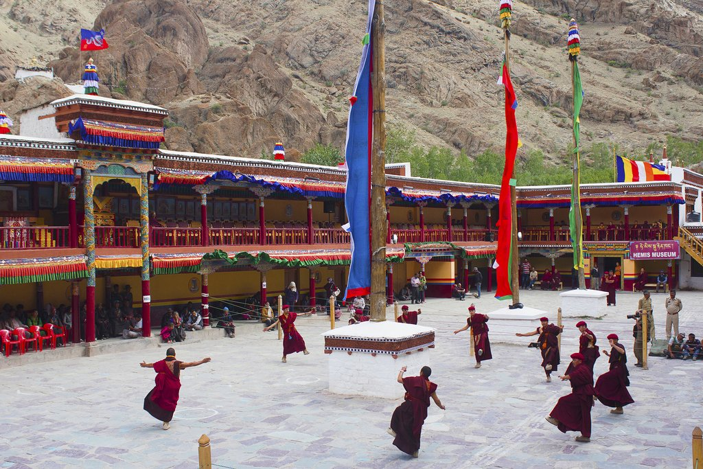 Young monks being addressed at Hemis festival in Hemis Monastery