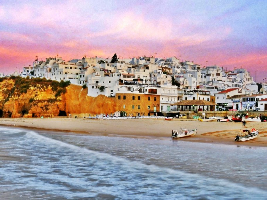 The town of Albufeira at Sunset