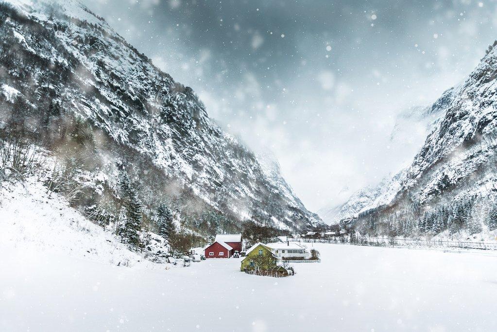 Snowy landscapes near Bergen
