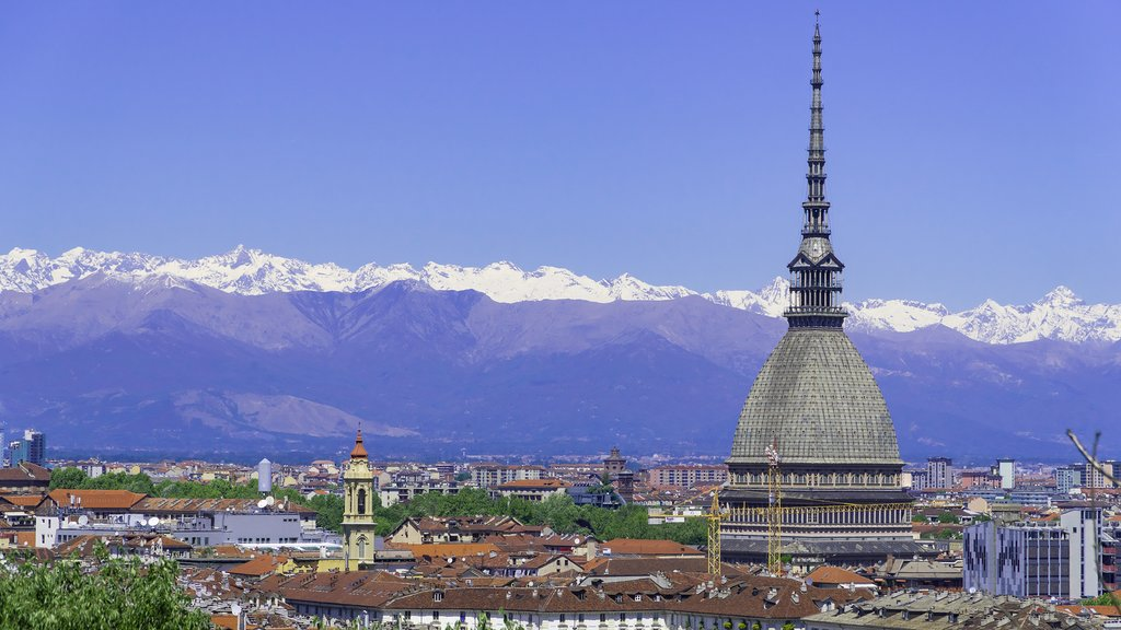 Turin skyline with the Alps in the background