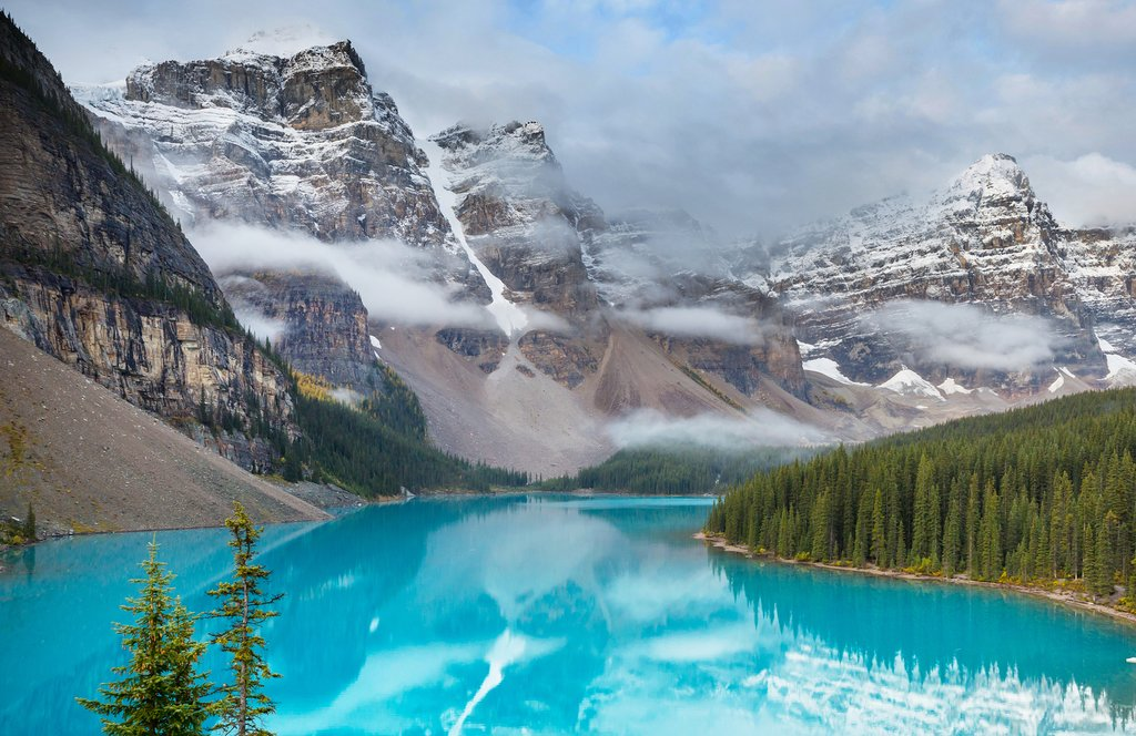 The beautiful turquoise waters of Moraine Lake