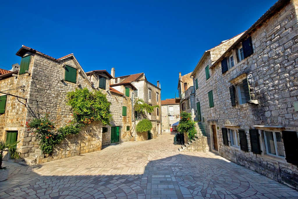 Cobblestone streets of Stari Grad on the northern coast of Hvar