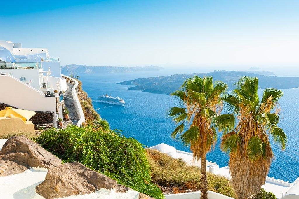 Summer Landscape View in Santorini, Greece