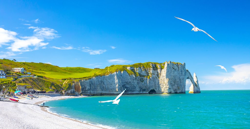 Beautiful cliffs and beaches at Etretat