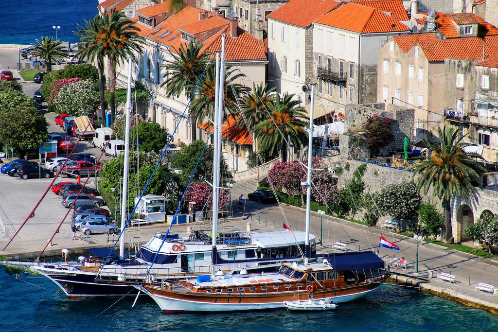 The colorful harbor of Korčula, Croatia