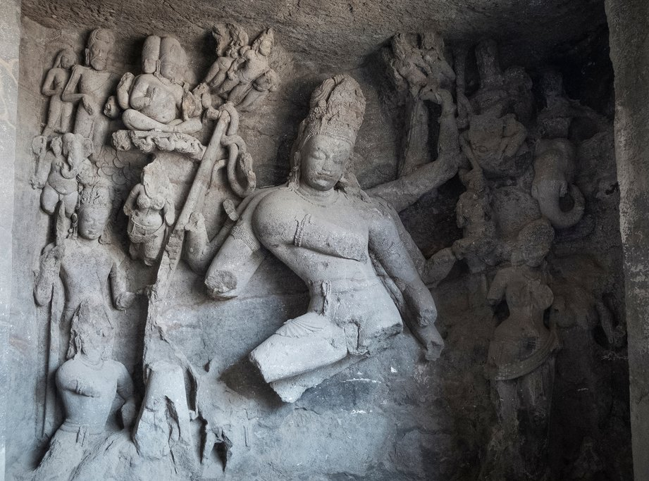 Hindu carvings at the Elephanta temple caves