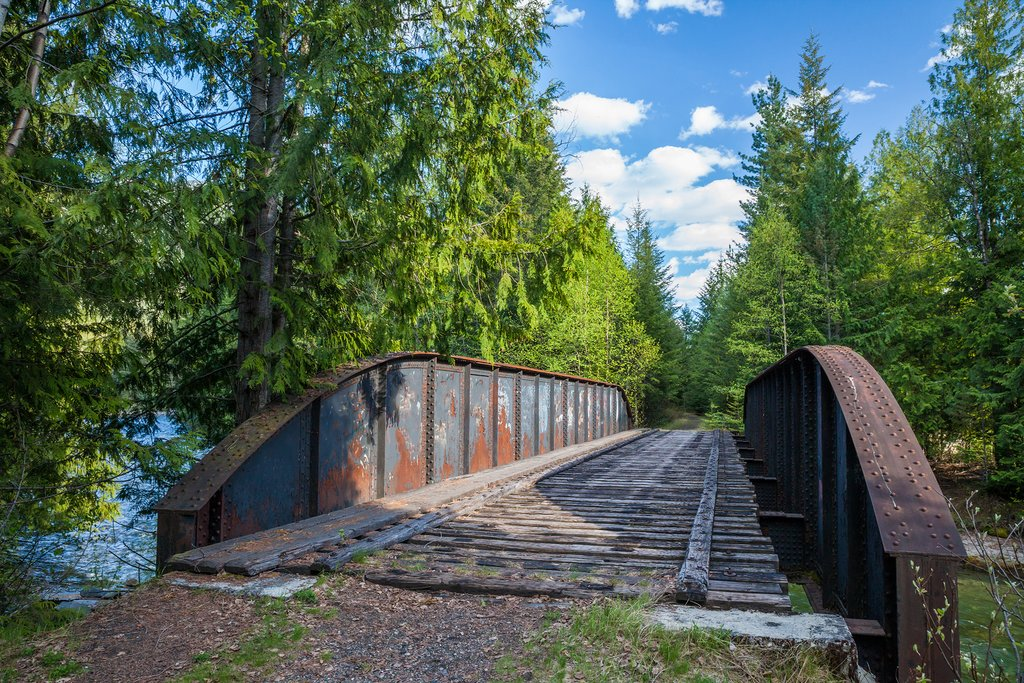 Abandoned train bridge turned biking trail near Slocan