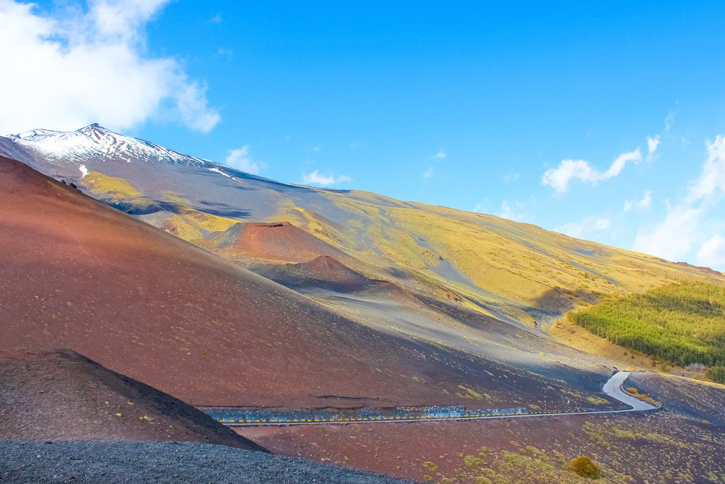 Colorful landscape on the slopes of Mount Etna