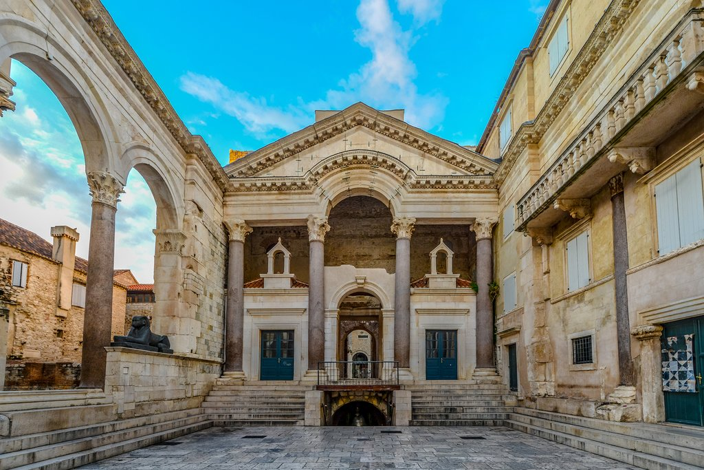 Croatia - Split - Early morning at the peristyle or peristil inside Diocletians Palace in Old Town