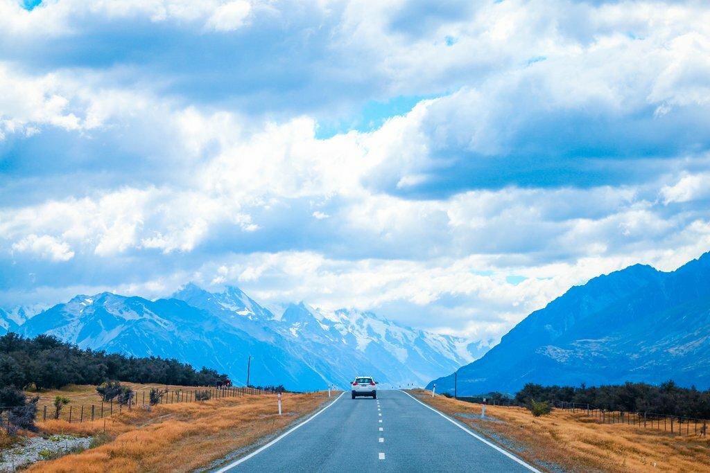 Driving towards Mount Cook, New Zealand's highest peak
