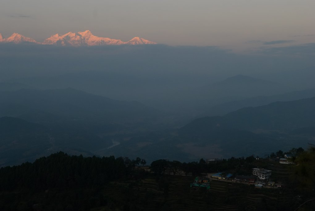Evening views from Bandipur of the Himalaya