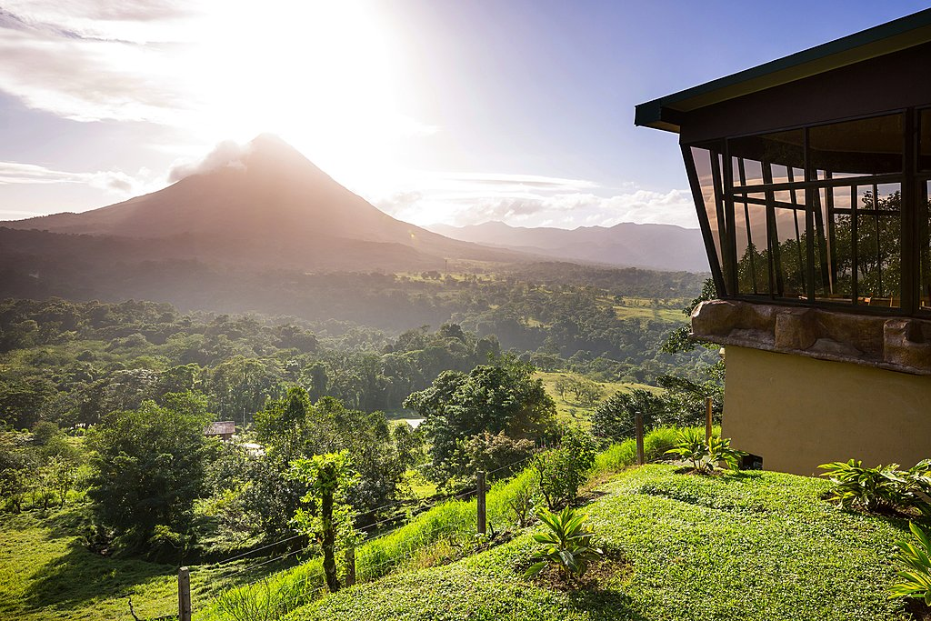 Views across Costa Rica's iconic Arenal Volcano.