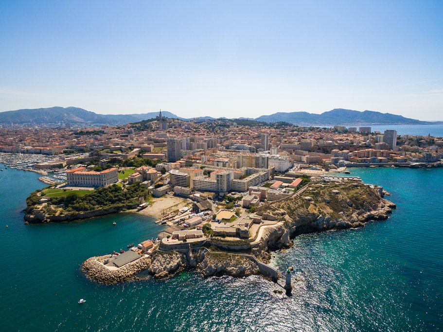 France - Marseille - Vieux Port, Saint Jean castle, and mucem in south of France