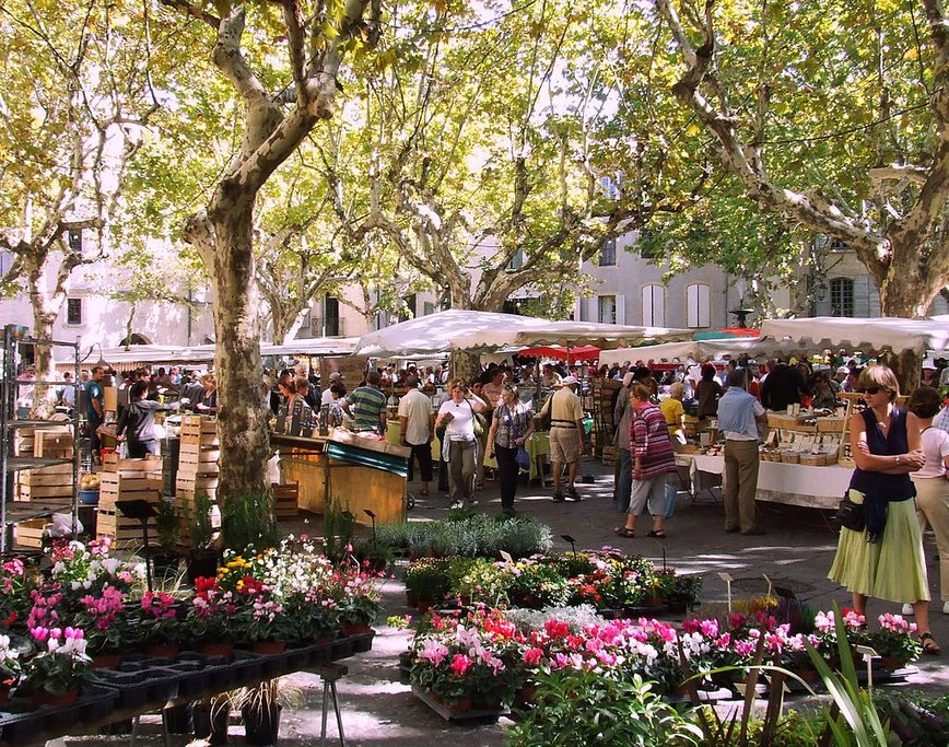 Outdoor market at the Place aux Herbes, in Uzès