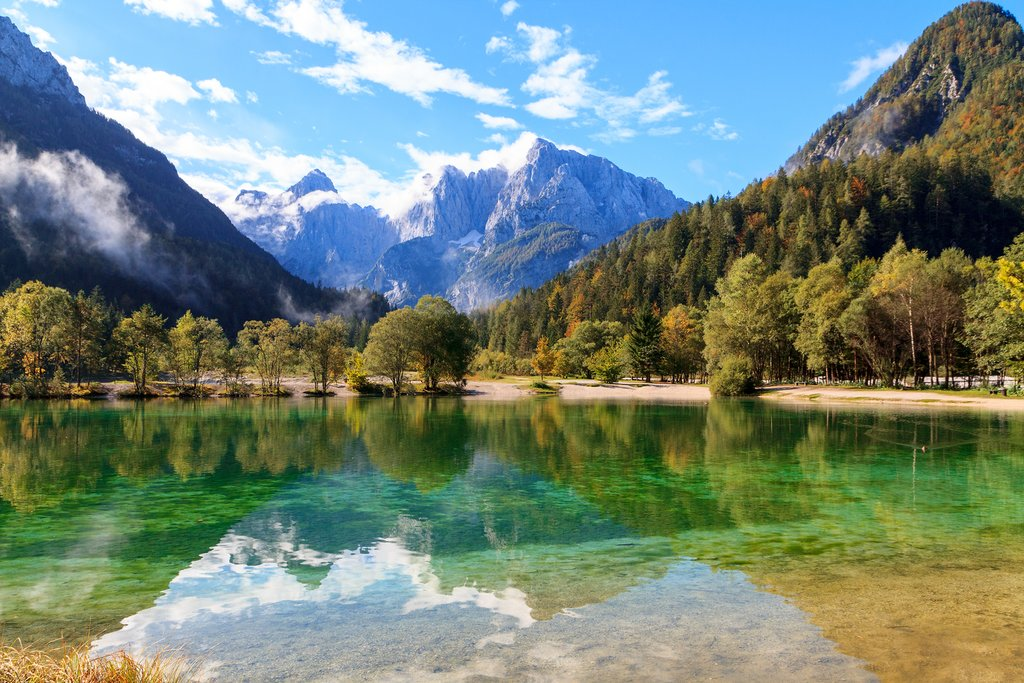 Save Download Preview Beautiful Jasna lake at Kranjska Gora in Slovenia