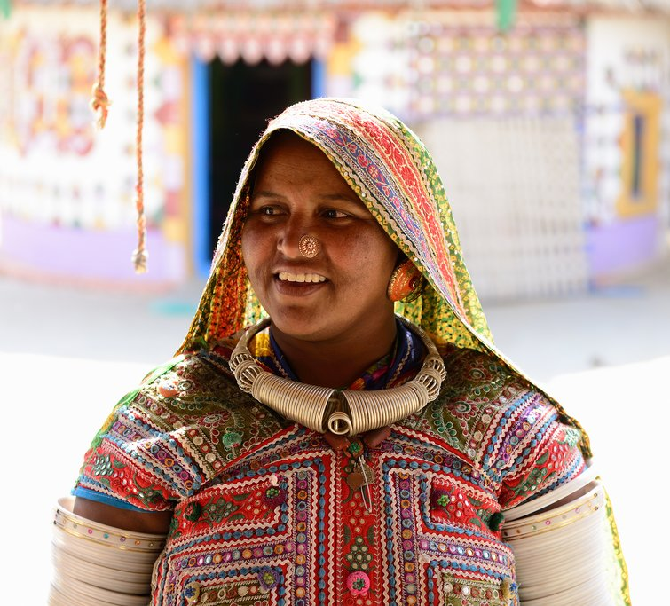 A woman in Kutch wearing her traditional dress